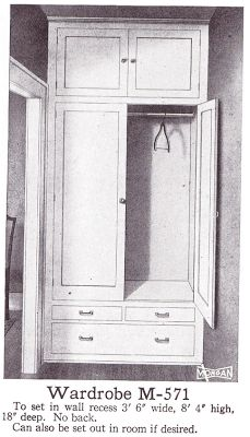 This built-in would be perfect for our mudroom -- Closets and Wardrobes are from the book What Makes the House Beautiful: A Collection of Building Details and Measured Drawings, published in 1920 by Henrietta C. Peabody. 1920s Craftsman Bungalow