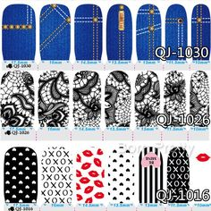 $3.19 1Sheet Nail Wraps Jeans Flower Lip Heart Patterned Full Nail Sticker - BornPrettyStore.com