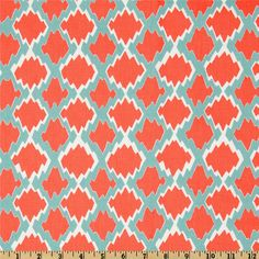 Coral Melon Turquoise Modern Geometric Fabric by the Yard, Premium Wide Cotton Duck Drapery Fabric, Pillows, Home Decor Fabric,Crafts Discount Fabric Online, Buy Fabric Online, Coral Home Decor, Home Decor Fabric, Fabric Crafts, Drapery Fabric, Fabric Shower Curtains, Wall Fabric, Chair Fabric
