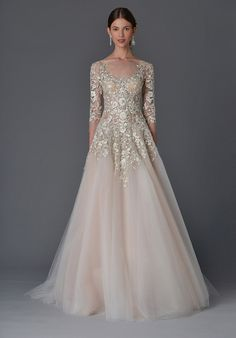 Soft ivory and nude tulle ball gown with bodice and ¾-length sleeve with a delicately layered skirt, covered in a trickling floral threadwork of ivory and silver