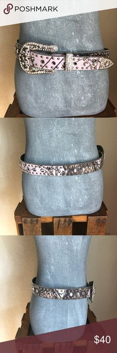 Pink camo rhinestone belt Pink camo rhinestone belt with silver engraved embellishments. Size M. In like new condition. No rhinestones missing.  • Free shipping on orders/bundles $50 or more• Blazin Roxx Accessories Belts