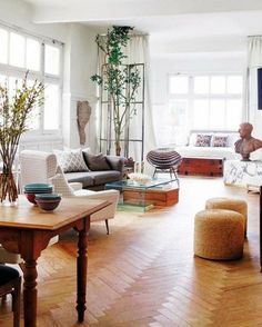 plan studio 20m2, sol en parquet clair,deco studio 20m2, meubler un studio retro chic