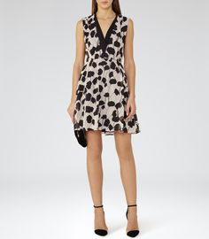 Womens Neutral/black Printed Dress - Reiss Cate $360