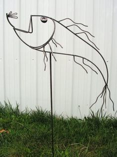 Metal yard art.