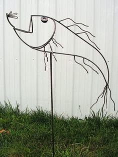 Metal yard art.
