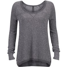 Guess Sweater Lilli (£65) found on Polyvore    Guess Sweater Lilli  £65 (€80) - welikefashion.com  Grey sweater with silver coloured detail in the yarn. This knit features a rib knit at the neck, ending of the sleeve and hemline. At the neck theres a cross shaped stitch. The sweater features a roomy fit. Style tip: Pair up with leather shorts and stockings. 88% cotton, 8% polyester, 4% metallic.