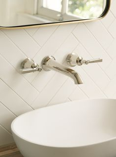 Empire 3 hole basin mixer, Kyoto basin and Novak mirror (Architecture White Matt tiles) Lodge Bathroom, Bathroom Renos, Small Bathroom, Master Bathroom, Bathroom Remodeling, Fired Earth, Downstairs Toilet, Basin Mixer, Vessel Sink