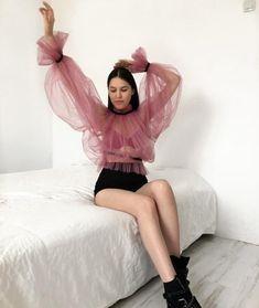 Blouse Volantée, Sheer Blouse, Ruffle Blouse, Aesthetic Fashion, Aesthetic Clothes, White Lace Skirt, Streetwear, Korean Street Fashion, Teen Fashion Outfits