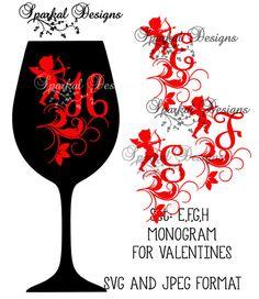 Monogram SVG File Valentine Cupid Clipart by SparkalDigitalDesign #SVGFILES #ValentineSVG