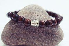 Dark Brown Beaded Bracelet | Wood Bead Bracelet | Mens Elastic Bracelet  Simple Mens Bracelet