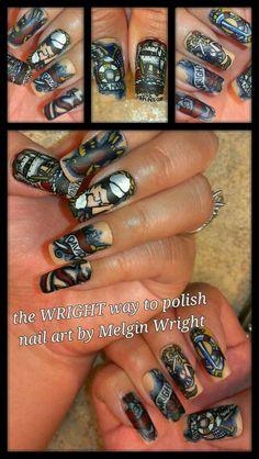 Navy Nail Art, Navy Nails, Painted Nail Art, Hand Painted, Military Nails, Sailor Nails, Sailor Tattoos, Nail Polish, Ouat