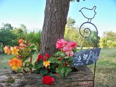 """décoration de jardin,suspension en ardoise naturelle""""esprit campagne""""-poule et…"""