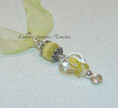 Cancer Awareness Yellow Ribbon Clear Heart by ArtisticTouches, $10.00