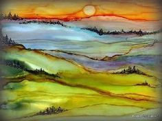 DRIFTING FOG ALCOHOL INK & MICRON PEN ON YUPO PAPER by hester