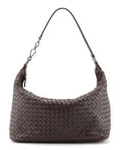 V1T07 Bottega Veneta Woven Leather Shoulder Bag, Dark Brown