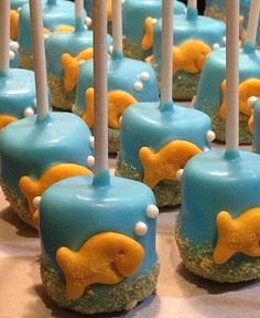 So cute. Great for a kid party.  GOLDFISH MARSHMALLOW POPS 12  Under the Sea by SweetBitesMs, $15.00