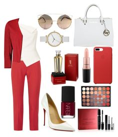 """Red"" by ommcuba on Polyvore featuring Alexander McQueen, Roland Mouret, Boohoo, Christian Louboutin, Michael Kors, MAC Cosmetics, Marc Jacobs, Morphe, NARS Cosmetics and Cartier"