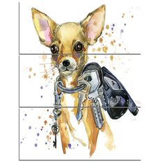 DesignArt 'Brown Toy Terrier Dog Watercolor' 3 Piece Wall Art on Wrapped Canvas Set