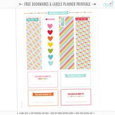 FREE {PRINTABLE} Bookmarks & Labels