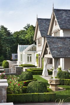 """I love the little green house in the back. """"Of course, we strongly believe that any home, especially this Elizabethan Manor House would be incomplete without well planned, thoughtful landscaping architecture as well. Style At Home, Tudor House Exterior, House Exteriors, Residential Architecture, Outdoor Rooms, Outdoor Living, Home Fashion, Architecture Details, Tudor Architecture"""
