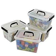 Buy Ggbin 7 Quart Clear Latch Storage Box with Black Handle and Latches - 4 Pack
