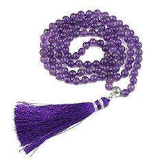 Premium Mala Beads Necklace  Buddhist Prayer Beads for Meditation  Yoga Jewelry  BAYUEBA Mala Bead Bracelet Amethyst *** Amazon most trusted e-retailer #BuddhistPrayer Tassel Necklace, Beaded Bracelets, Buddhist Prayer, Yoga Jewelry, Prayer Beads, Yoga Meditation, Amethyst, Prayers, Gemstones