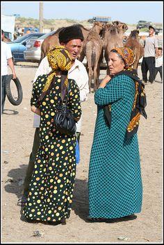 Chatting in Ashgabat, Turkmenistan.