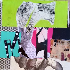 """""""Blown Away""""  Collage on panel"""