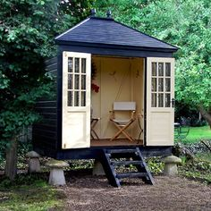 Wooden Garden Shed in Garden Shed Ideas. This Chic wooden garden shed from Grainstore has double doors and is raised so good for uneven garden surfaces.