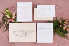 Blush, gray, and ivory invitation suite with calligraphy