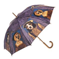 Stunning rain umbrellas for dog lovers - Clifton Artbrella Royalty Dogs. Classic wooden handle and tips. Lightweight construction and beautifully printed.