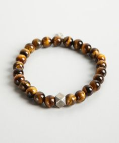 Ettika : brown tigers eye stone and faceted bead bracelet : style # 321446302