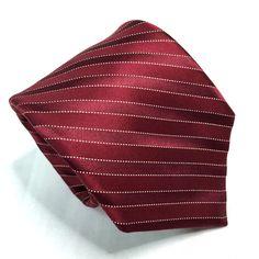 Ike Behar New York Silk Necktie Tie Burgundy Stripes XL 62 in x 3.5 in EUC #IkeBehar #NeckTie