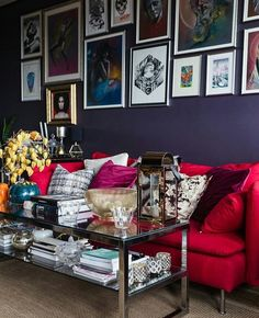 Don't know the name of the paint color...but Ben Moore Shadow or Purple Lotus are close.  interiorsdesignblog.com