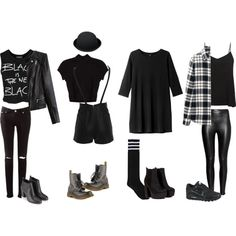 All Black Edgy Outfits by samsus on Polyvore featuring Monki, Uniqlo, Sally&Circle, H&M, Bardot, Monsoon, NIKE, Dr. Martens, Punk and rock
