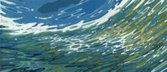 """'Coasting' 20 x 46"""". Acrylic on Linen. This painting depicts a goggled viewer, looking up from underwater. The visual is distorted by the goggles. Available through ARTIcles  1445 Central Ave. St. Petersburg, FL 33705 727-898-6061"""