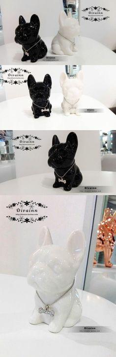 ceramic Bulldog home decor crafts room decoration ceramic French Bulldog ornament porcelain animal figurine decoration $35.76