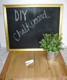 DIY Chalkboard (from thrifted frame!) sooo easy and cheap! Doing this!