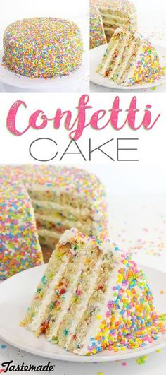 Topped and filled with tons of sprinkles, this colorful vanilla cake is a party in itself. (cooking with kids party) Cupcakes, Cake Cookies, Cupcake Cakes, Candy Cakes, Confetti Cake Recipes, Confetti Ideas, Delicious Desserts, Dessert Recipes, Pear Cake