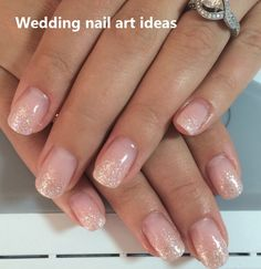 Nagellack Pretty Nude Nails with Light Glitter Fade Wedding Nail Art Wedding Etiquette Natural Wedding Nails, Simple Wedding Nails, Wedding Nails Design, Natural Nails, Wedding Pedicure, Glitter Fade Nails, Faded Nails, Sparkle Nails, Nails With Glitter Tips