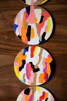 """Easy + colorful Sunday project: """"glamoufalge"""" coasters."""