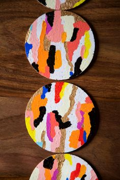 "Easy + colorful Sunday project: ""glamoufalge"" coasters."