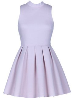 Candy Coated Dress: Features a beautiful high neckline, figure-flattering empire waist, voluminous pleated A-line skirt, and an exposed rear-zip closure to finish.