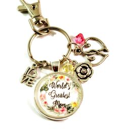World's Greatest Mom Key Chain Keyrings for Women with Heart and Swarovski Crystals Purse Charm Unique Mothers Day Gifts, Mother Day Gifts, Gifts For Mom, Large Hole Beads, Key Chain Rings, Key Chains, Love Charms, Handmade Christmas, Christmas Gifts