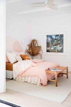 RE-CREATE THE LOOK: 3 White Minimalist Boho Bedrooms - Image via 3 Birds Renovations. Home Bedroom, Bedroom Wall, Bedroom Ideas, Cottage Bedrooms, Modern Bedroom, Bohemian Bedrooms, Master Bedroom, Bedroom Colors, Bedroom Beach
