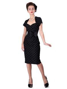 Collectif Regina polka flock dress black | Jurken | Miss Vintage | Retro, vintage geïnspireerde dames kleding
