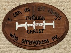 Game On VBS 2018 - Wooden Football/Bible Verse with small wooden clip for photo.