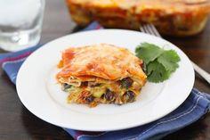 Stacked Roasted Vegetable Enchiladas on twopeasndtheirpod.com #recipe