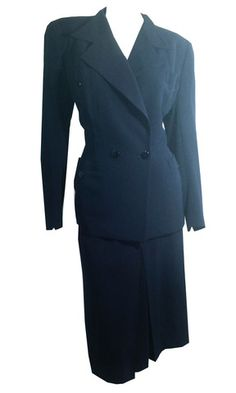 Agent Carter Chic Deep Blue Wool Suit w/ Peaked Collar circa 1940s - Dorothea's Closet Vintage