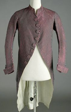 Frockcoat, 1775-1785, Spain, Striped Silk taffeta, white linen twill and silk lining. Buttons covered in same striped silk. CE008795 (c) Museo del Traje